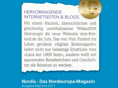 Auszeichnung für die beste Webseite beim Nordis Travel Award 2017